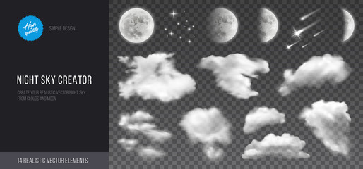 Fotorollo Grau Verkehrs Night sky creator. Realistic vector phases of the moon, clouds and stars. Transparent background.