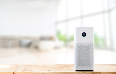 air purifier a living room,  air cleaner removing fine dust in house. protect PM 2.5 dust and air pollution concept Fotobehang