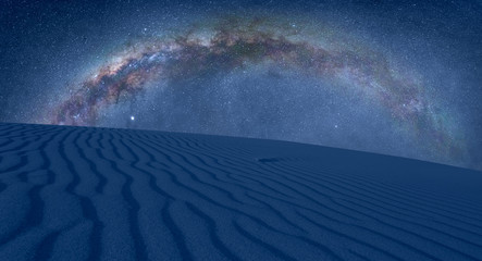 Wall Mural - Amazing views of the blue desert under the night starry sky with milky way
