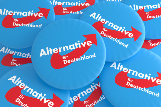 German Election Politics Badges Concept: Pile of AfD Buttons, 3d illustration