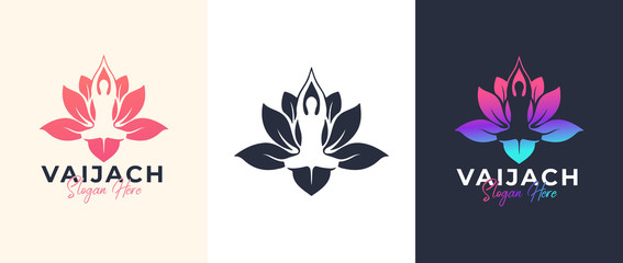 Yoga Lotus flower logo design