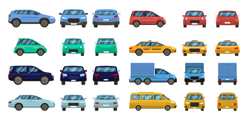 Photo sur Toile Cartoon voitures Car views. Front and profile side car view, urban traffic transport of different views. Auto transport vector isolated set. Motor vehicles top, back and front. pickup, suv and hatchback, taxi sedan