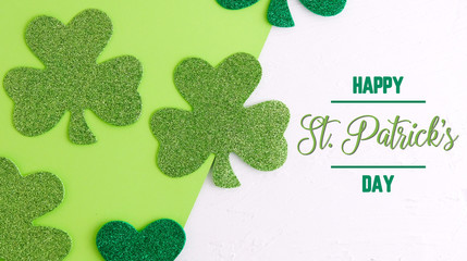 Green shamrock clover for irish holiday, happy st. patrick's day graphic.