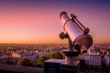 telescope and view of paris