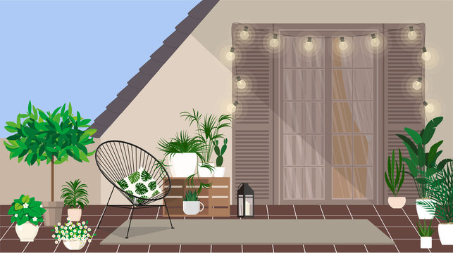 A rooftop balcony with an armchair and a small mini garden.
