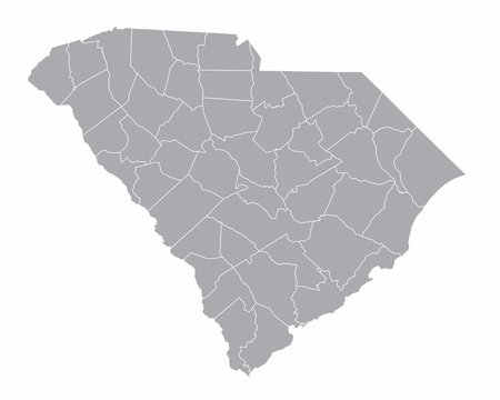 The South Carolina isolated map and its counties