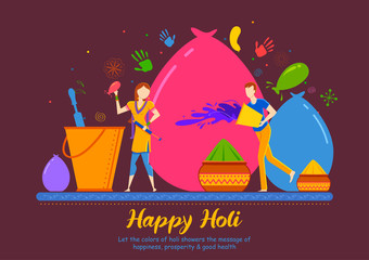 Wall Mural - illustration of colorful Happy Holi Background for Festival of Colors celebration greetings