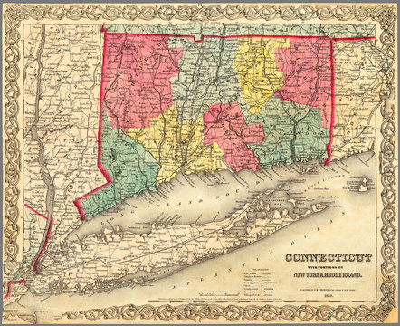 Detailed restored reproduction map of Connecticut with Long Island and parts of adjoining states 1854. It shows railroads and road system.