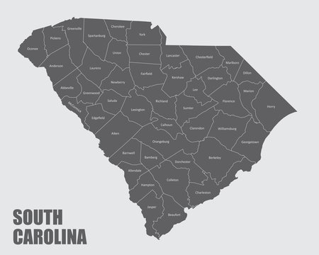 The South Carolina isolated map and its counties with labels