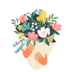 Hands holding bouquet of flowers with a note For you. Vector design concept for Valentines Day and other users. Vector Illustration.