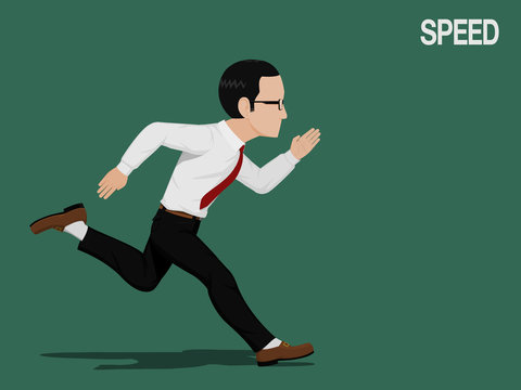 A businessman is running with full speed