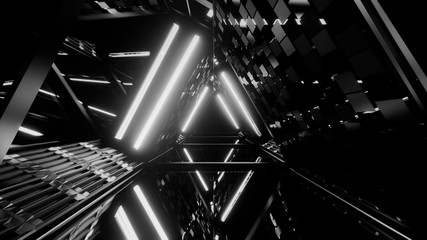 Greyscale shot of laser show of glowing lines of neon lights Wall mural