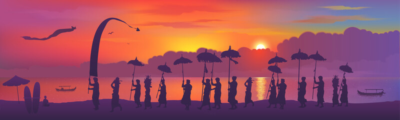Traditional Balinese religious ceremony, people with umbrellas silhouettes on colorful sunset background. Vector horizontal banner illustration Fototapete