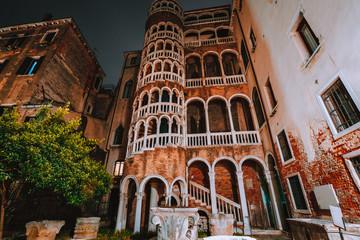 Venice, Italy. The Palazzo Contarini del Bovolo also called the Palazzo Contarini Minelli dal Bovolo at night