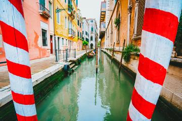 Narrow canal of Venice city on beautiful sunny day. Italy. Europe
