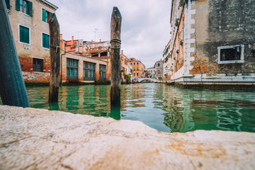 Venice, Italy. Beautiful view of the typical channels canals in Venezia city