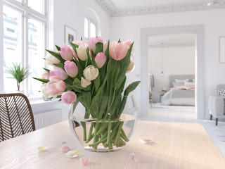 3D-Illustration. table with tulips in modern living room