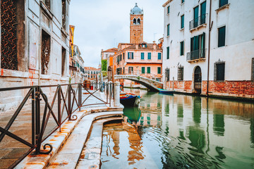 Venice, Italy. Beautiful scenery of the typical channels canals in old vintage Venezia city