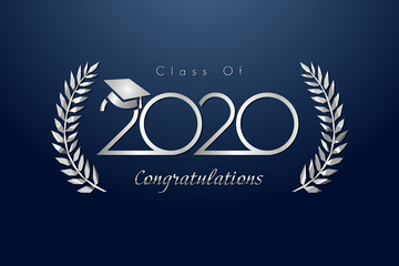Class of 2020 year graduation banner, awards concept. Shining metal sign, happy holiday invitation card, silver gradient. Isolated abstract graphic design template. Calligraphic text, dark background.