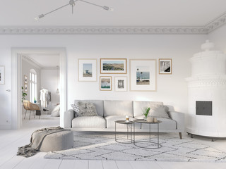 3D-Illustration. modern living room in bright new apartment