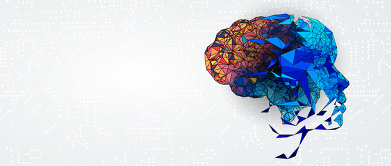 Abstract human brain. Artificial intelligence technology. Science background Wall mural