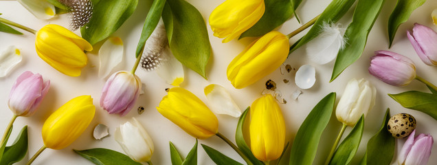 Easter floral background, various eggs end egg shell and tulips