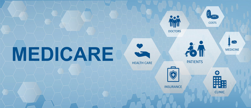 Medicare concept banner with icons and aspects. Healthcare and nsurance, availability, clinic, doctor, cost, medicine and emergency. Modern infographics with icons. Vector Medicare illustration