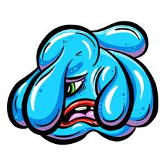 Weird Cartoon Blob Imaginary Creature Looks Depressed Vector Illustration