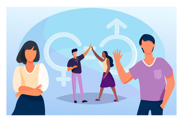 Fototapeta Man and woman giving high five. Male and female characters with gender symbols and equal marks. Vector illustration for equality, discrimination, diversity concept