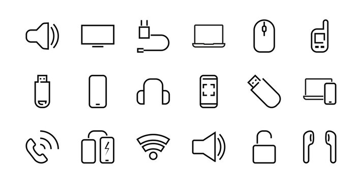 A set of smart devices and gadgets, computer hardware and electronics. Electronic devices icons for web and mobile vector lines. computer, telephone. Editable stroke. 48x48 pixels