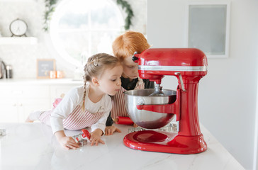Two toddlers baking christmas cookies looking in a mixer