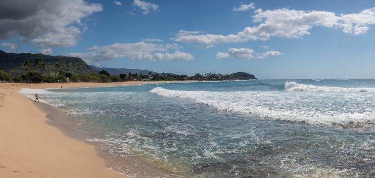 Panorama of the bay and sand of Makaha beach park on the extreme west coast of Oahu in Hawaii