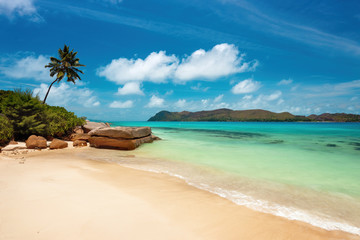 Tropical Paradise Beach in Seychelles, Praslin Island, near Anse Takamaka