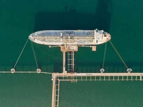 Aerial view of a ship in Western Port Bay, Victoria, Australia