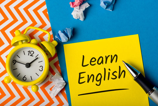 Message with Learn English advice. Education and selfdevelopment concept