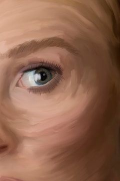 Digital oil painting of woman's eye and part of her face