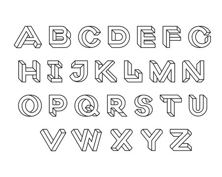 Impossible shape font design, alphabet letters and numbers vector illustration.