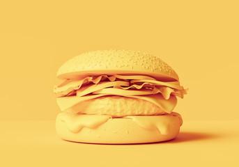 3d printing food concept, abstract fake yellow hamburger, junk food creative banner, 3d illustration.