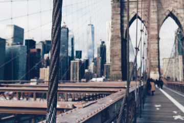 Details of the Brooklyn Bridge in New York City, USA. Toned in cooler color image