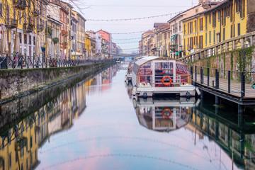 Fotorolgordijn Milan Naviglio Grande canal in Milan city, Italy
