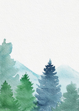 Light spruce forest in mountains. Watercolour hand painted illustration with paper texture and blank space for text