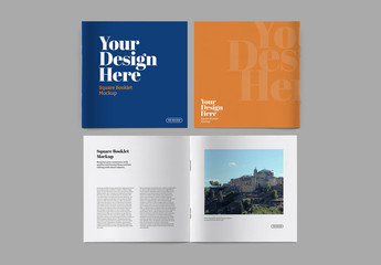 3 Square Booklet Mockups