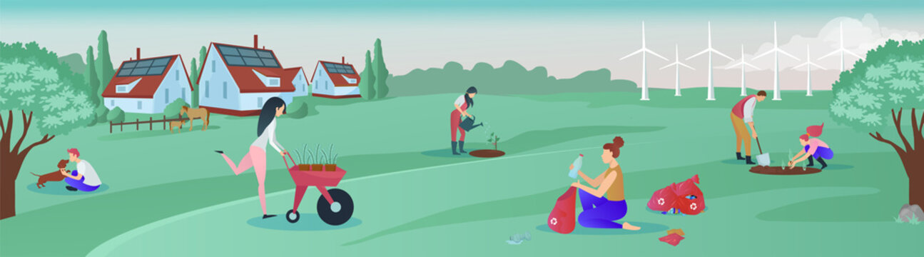Vector of a group of people living in green rural area cooperating for environmental protection