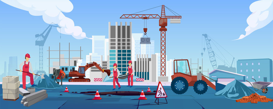 Vector of a construction site with workers building a new skyscraper.