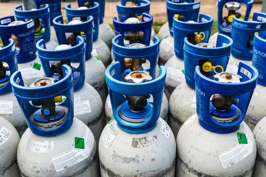 Refrigerant gas cylinders under pressure ready to transport