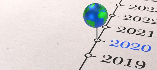 2020 - Globus auf Zeitleiste
