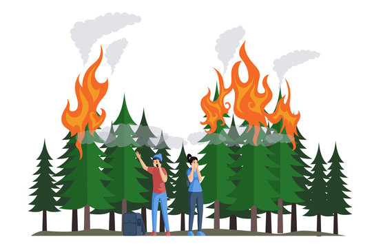 Frightened campers during a fire in forest flat vector illustration. Natural disaster, burning forest.