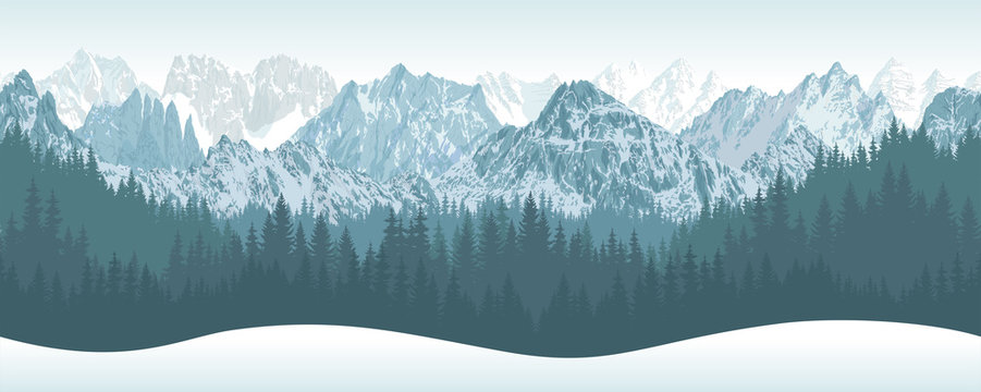 vector winter seamless mountains with woodland background illustration