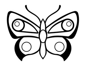 Butterfly - a linear vector illustration for coloring. Outline. The insect is a butterfly. Beautiful detailed stylized moth. Butterfly - a template for cutting or coloring.