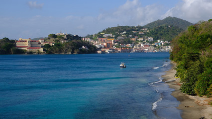 St. George's town and coast of Grenada